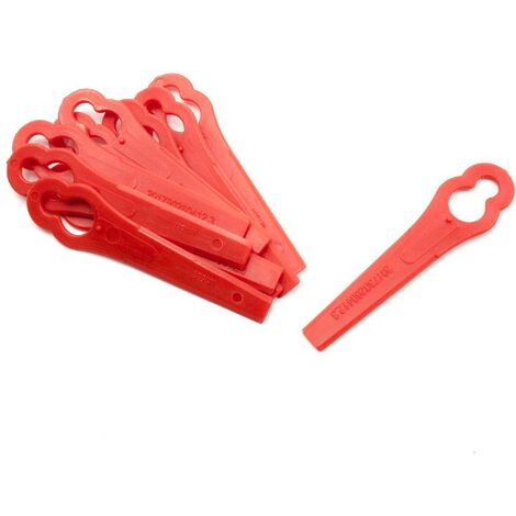 vhbw 10x Replacement Blade compatible with Einhell BG-ART 18 Li Cordless Strimmer - Cutter Blades, Red, plastic
