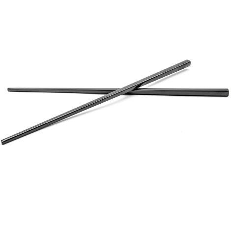 vhbw 1x paire de baguettes chopsticks en acier inoxydable - noir