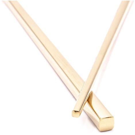 vhbw 1x paire de baguettes chopsticks en acier inoxydable - or