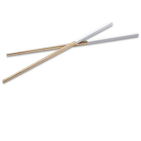 vhbw 1x paire de baguettes chopsticks en acier inoxydable - or / blanc