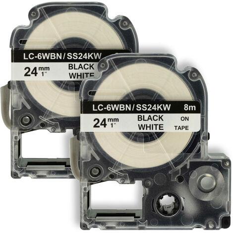 vhbw 2 x cartridge label tape 24mm for KingJim SR330, SR3900C, SR3900P, SR530, SR530C, SR550, SR6700D, SR750, SR950 replaces LC-6WBN, SS24KW.