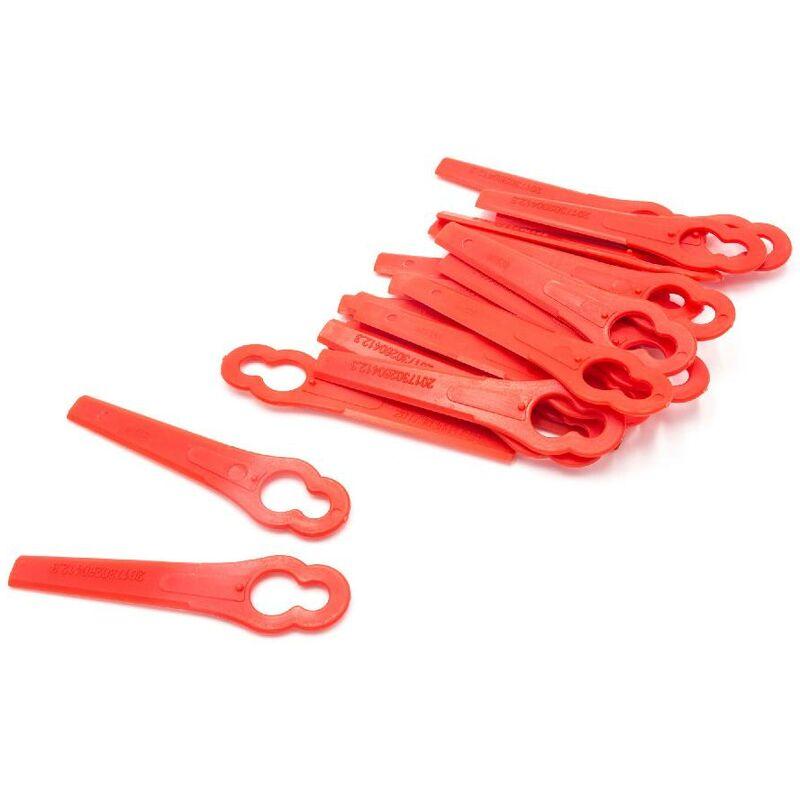 vhbw 20x Lames compatible avec Einhell BG-CT 18 Li, GE-CT 18 Li, RG-CT 18/1 Li taille gazon - Lames de rechange, rouge, plastique
