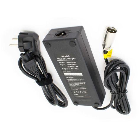 vhbw 220V Fuente de alimentación cargador cable de carga 100W para batería de e-Bike, Pedelec, bicicleta eléctrica con conexión de enchufe 3Pin-XLR.