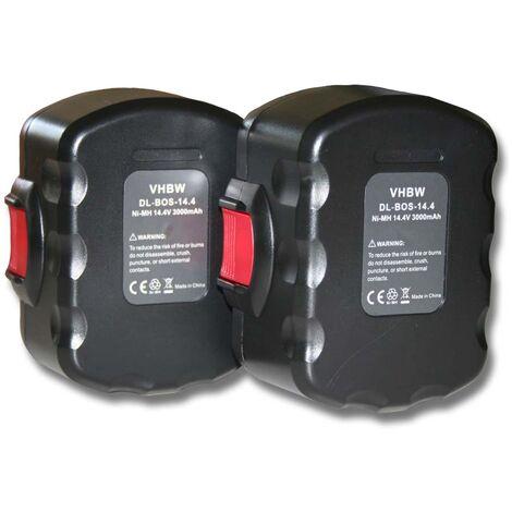 vhbw 2x batterie de remplacement pour Bosch 2607335534 outil électrique (3000mAh NiMH 14,4V)