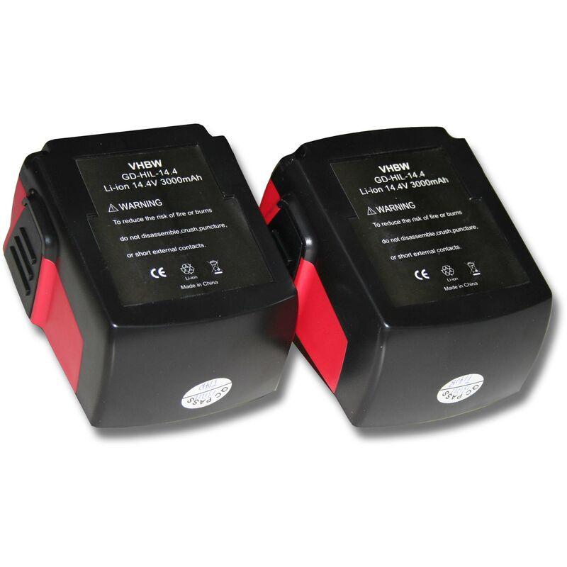 2x Batterie Li-Ion 3000mAh (14.4V) pour outils SFL Flashlight, SID 144-A CPC Impact Driver comme Hilti B144, B-144. - Vhbw