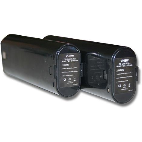 vhbw 2x batteries Ni-MH 2100mAh (7.2V) pour appareils 6071DW, 6071DWK, 6072D, 6072DL, 6072DW comme Einhell 91011 Makita 191679-9, 192532-2, 192695-4.