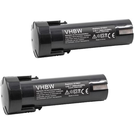 vhbw 2x Battery compatible with Weidmüller DMS 3 Electric Power Tools (3300mAh NiMH 2.4V)
