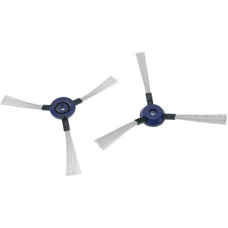 vhbw 2x cepillo lateral compatible con Rowenta Smart Force Extreme robot aspirador -Set cepillos de limpieza, negro / blanco / azul