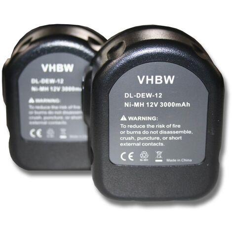 vhbw 2x Ni-MH battery 3000mAh (12V) POWER TOOL BATTERY for DE9075, Dewalt DW9071, Rems Pressing Tools as Dewalt 152250-27, 397745-01, DC9071, DE9037.