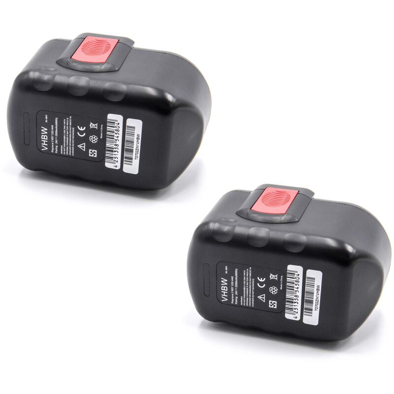 2x NiMH batterie 2000mAh (24V) pour outil électrique outil Powertools Tools Bosch GKS 24V, GLI 24V, GMC 24V, GSA 24V, GSA 24VE, GSB 24 VE-2 - Vhbw