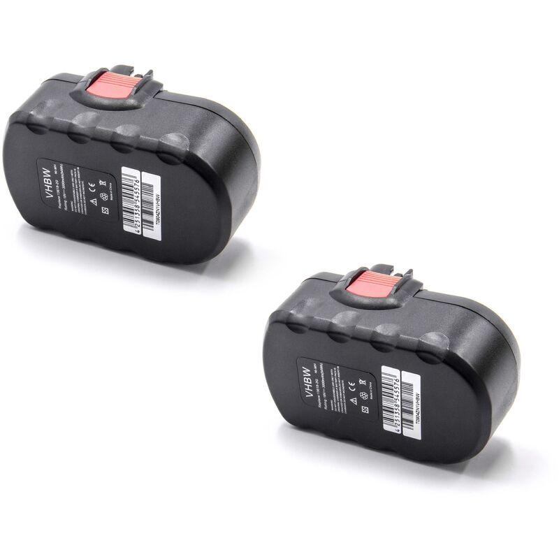 vhbw 2x NiMH batterie 3000mAh (18V) pour outil électrique outil Powertools Tools Bosch GLI 18 V, GSA 18 VE, GSB 18 VE-2, GSR 18 V, GSR 18 VE-2
