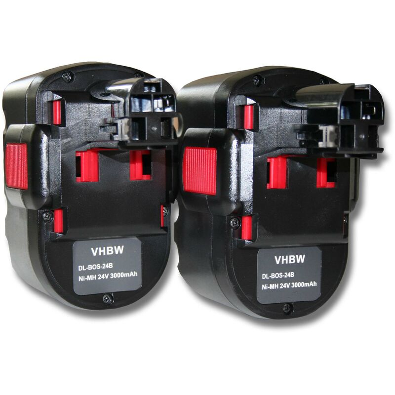2x NiMH batterie 3000mAh (24V) pour outil électrique outil Powertools Tools Bosch GKS 24V, GLI 24V, GMC 24V, GSA 24V, GSA 24VE, GSB 24 VE-2 - Vhbw