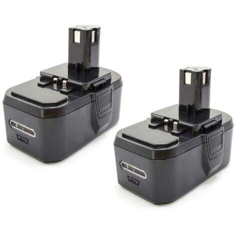 vhbw 2x NiMH battery 1300mAh (18V) for electric power tools Ryobi P514, P520, P521, P530, P540, P570, P600, P610, P700, P710