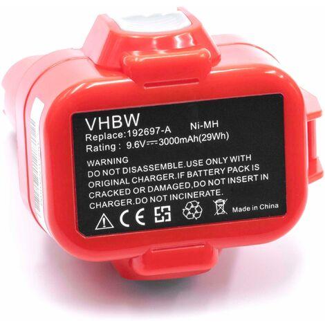 vhbw 2x NiMH battery 3000mAh (9.6V) for electric power tools as Makita 192321-5, 192404-1, 192534-8, 192534-A, 192535-6, 9100