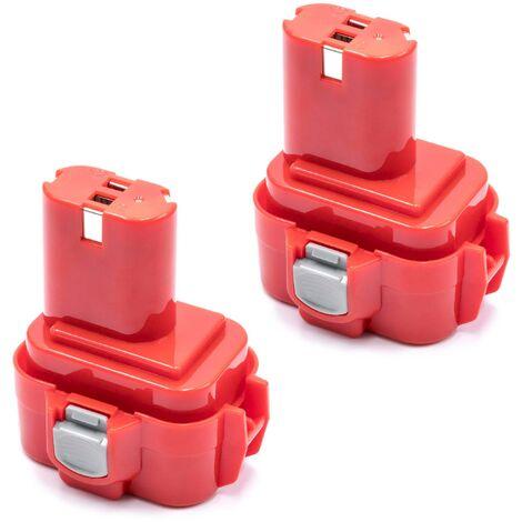 vhbw 2x NiMH battery 3000mAh (9.6V) for electric power tools Makita 6202D, 6202DW, 6221D, 6221DW, 6221DWE, 6400D, 6400DW