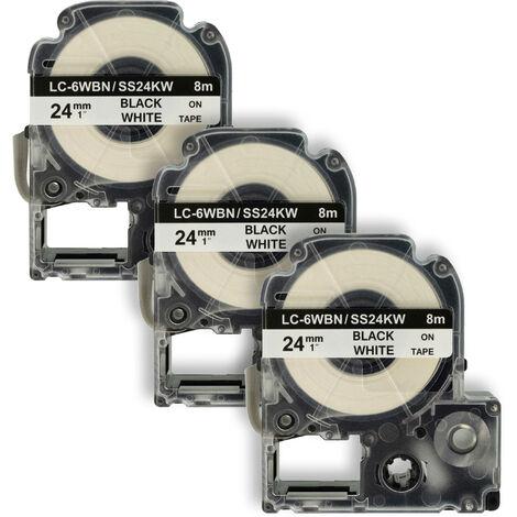 vhbw 3 x LABEL PRINTER RIBBON CARTRIDGE 24mm for KingJim SR330, SR3900C, SR3900P, SR530, SR530C, SR550, SR6700D, SR750, SR950 as LC-6WBN, SS24KW.