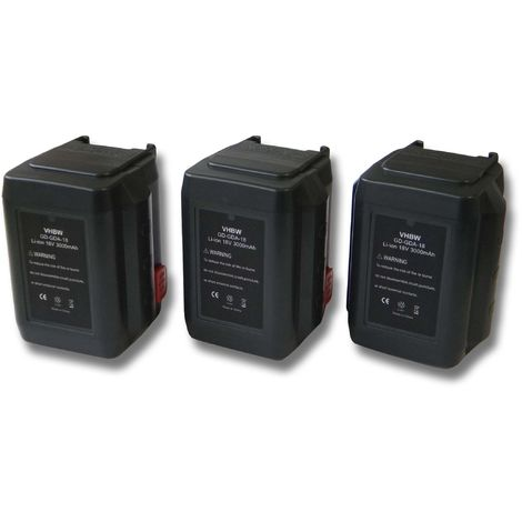 vhbw 3 x Li-Ion Batería 3000mAh (18V) para su herramienta electrónica Gardena Turbotrimmer AccuCut 400 Li por 8835-U, 8835-20, 8839, 8839-20