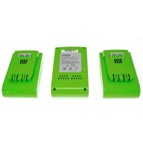 vhbw 3 x Li-Ion Batterie 2000mAh (24V) pour outils Greenworks 2100007 Tools 24V comme 29322, 29807.