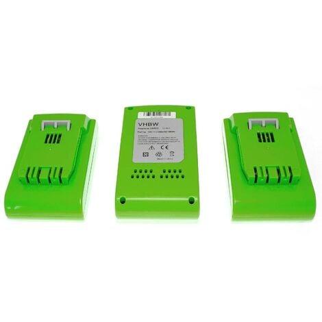vhbw 3 x Li-Ion Batterie 2000mAh (24V) pour outils Greenworks 2200107 Tools 24V comme 29322, 29807.