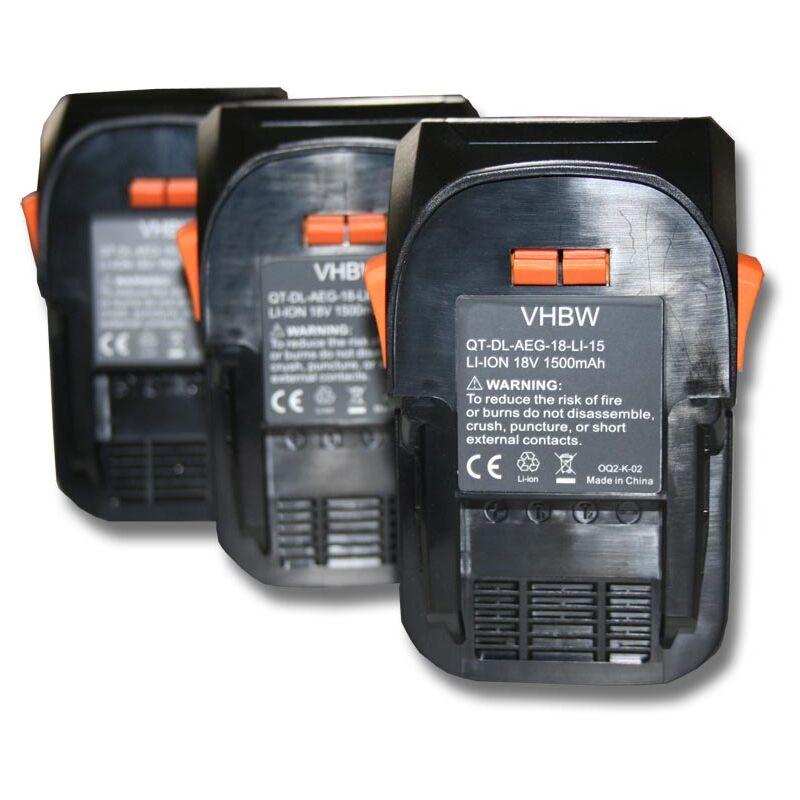 vhbw 3x Batterie compatible avec AEG BS 18G, BSB 18, BSB 18 C, BSB 18 G, BSB 18 LI, BSB 18 STX, BSS 18C outil électrique (1500mAh Li-Ion 18V)