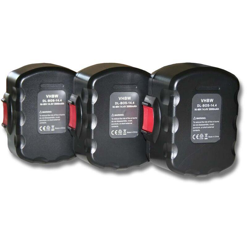 3x batterie de remplacement pour Bosch 2 607 335 685, 2 607 335 686, 2 607 335 694, 2 607 335 711 outil électrique (3000mAh NiMH 14,4V) - Vhbw