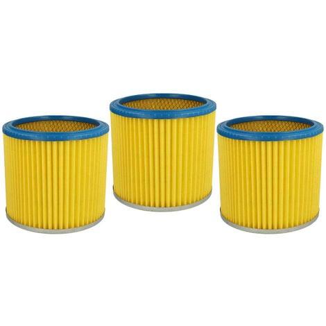 vhbw 3x Filtre rond / filtre en lamelles pour aspirateur Einhell AS 1250, 1250N, 1400
