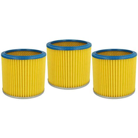 vhbw 3x Filtre rond / filtre en lamelles pour aspirateur, robot, aspirateur multifonctions Metabo ASA 9001