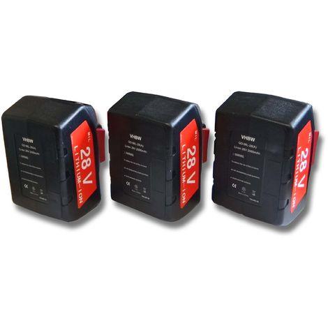 vhbw 3x Li-Ion batería 2000mAh (28V) para herramientas Milwaukee HD28 IW batería de llaves de impacto etc. por 48-11-1830, 48-11-2830, 48-11-2850.