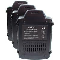 vhbw 3x Li-Ion batterie 1500mAh pour outils batterie tournevis AL-KO coupe-herbes GTLi, scie GTLi 18V Comfort comme Worx WA3512.