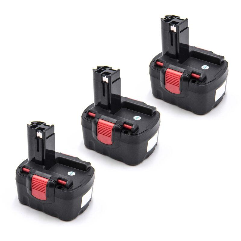 vhbw 3x Akku kompatibel mit Bosch 52314, 53514, CSD 14, GDR 4 V, GDR 4 V-LI, HDI 244, IDI 244, PLI 14 Elektrowerkzeug (1500mAh NiMH 14,4V)