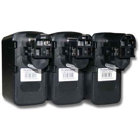 vhbw 3x Ni-MH batería 3000mAh (12V) para herramienta Bosch AHS 3, AHS 4, AHS A, ASG 52, ATS 12-P por Bosch 2 607 335 055, 2 607 335 071, 2 607 335 081