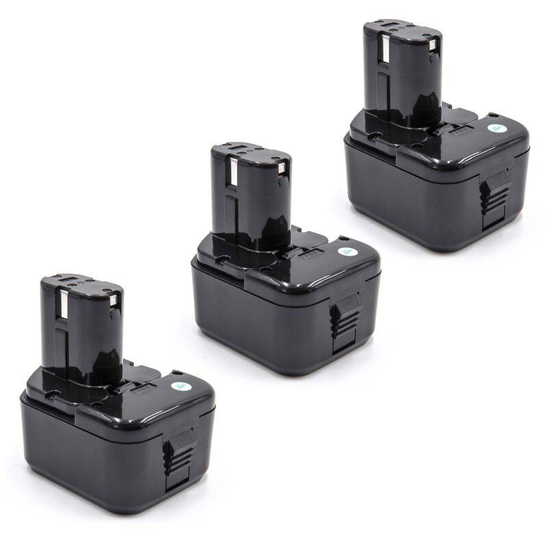 3x Ni-MH batterie 2100mAh (12V)pour outils Hitachi C 5D, C5D, CD 4D, CD4D, CL 13D, CL13D remplace Hitachi 320386, 320387, 320388, 320606, 320608.