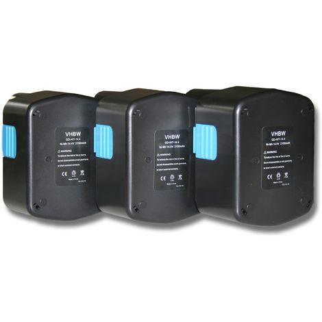vhbw 3x Ni-MH batteries 2100mAh (14.4V) pour outil DS 14DAF2, DS 14DFL, DS 14DFLG comme Hitachi 315128, 315129, 315130, 319104, 319933.