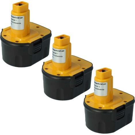 vhbw 3x Ni-MH battery 2000mAh (12V) for power tools DW9074 Dewalt DE9071, Rems Machine Press replaces Dewalt DC9071, DE9037, DE9071, DE9074.