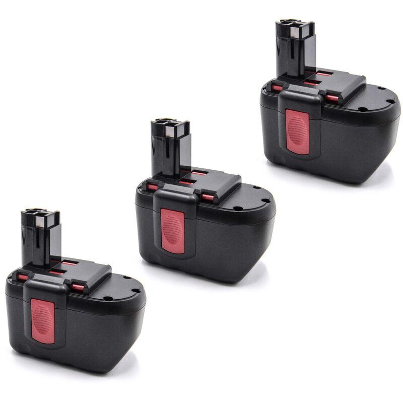 3x NiMH batterie 2000mAh (24V) pour outil électrique outil Powertools Tools Bosch GKS 24V, GLI 24V, GMC 24V, GSA 24V, GSA 24VE, GSB 24 VE-2 - Vhbw