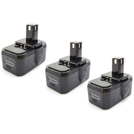 vhbw 3x NiMH battery 1300mAh (18V) for electric power tools Ryobi P234, P240, P2400, P241, P246, P250, P2500, P2600, P300, P301