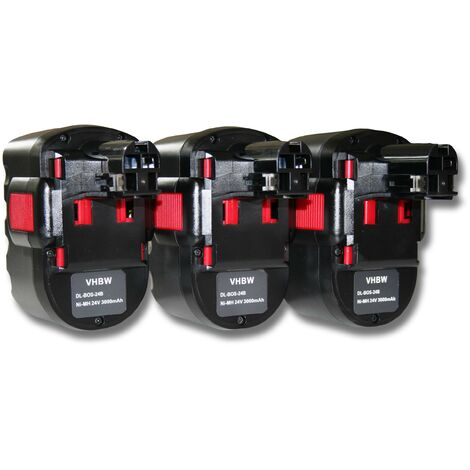 vhbw 3x NiMH battery 3000mAh (24V) for electric power tools Bosch 52324, 52324B, BACCS 24V, GBH-24V, GBH24VF, GCM24V, GKG 24V
