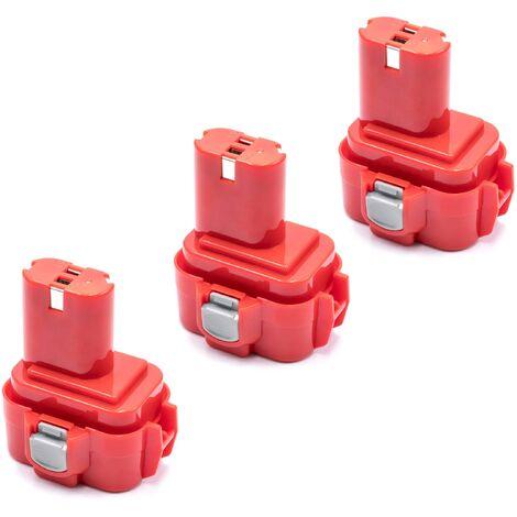 vhbw 3x NiMH battery 3000mAh (9.6V) for electric power tools Makita 1022DW, 6014DW, 6200D, 6200DW, 6201D, 6201DW, 6201DWH