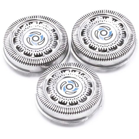 vhbw 3x shaving head replacement for Philips SH70/50, SH70/60 for razors, shaver, trimmer - silver