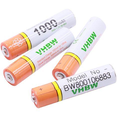vhbw 4 x AAA, Micro, R3, HR03 Akku 1000mAh für Telekom Sinus A206, A207, A406, A502, A502i, A503, A503i, A605, A606