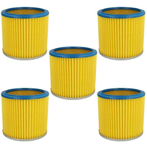 vhbw 5x Filtre rond / filtre en lamelles pour aspirateur Einhell Inox 1400, 30 A