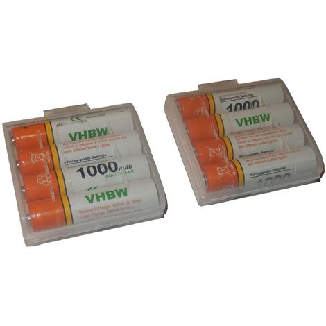 vhbw 8 x AAA, Micro, R3, HR03 Akku 1000mAh passend für Siemens Gigaset A510A, A510H, A510 Duo, A600A, A400, A420, A580, A585, A600, AS280