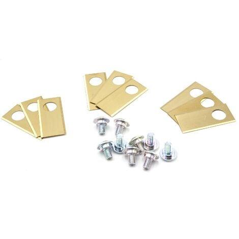 vhbw 9x Cuchilla repuesto compatible con Honda Miimo 3000, 310, 520 cortacésped - Recambio, dorado, acero (recubrimiento de titanio)