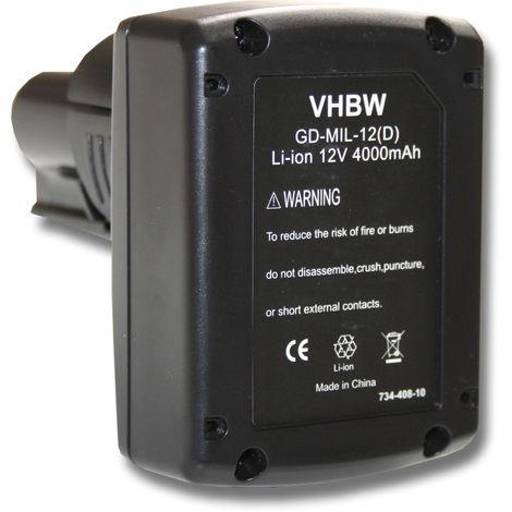 vhbw Akku 4000mAh für Werkzeug AEG Milwaukee C12, C12 D, C12 DD, C12 HZ, C12 IC, C12 ID, C12 IW, C12 PC, C12 PD, C12 PPC, C12 WS, M12, M12 IR, M12 JS.