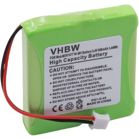 vhbw Akku passend für Multiphone by 1 & 1, Tevion MD81877 schnurlos Festnetz Telefon (600mAh, 2.4V, NiMH)