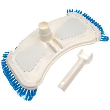 vhbw Aspirador piscina para conectar a la bomba, skimmer -aspiradora con conexión de manguera de 32/38 mm, con cepillos laterales, blanco / azul