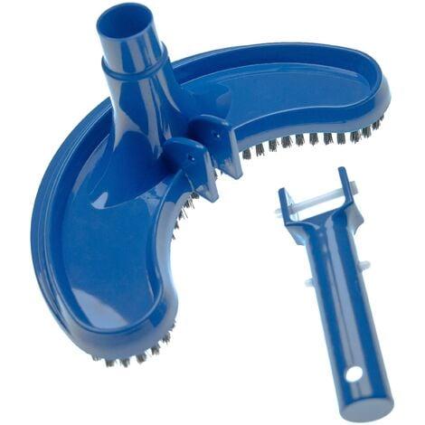 vhbw Aspirador piscina para conectar a la bomba, skimmer -aspiradora con conexión de manguera de 32/38 mm, semicircular, negro / azul