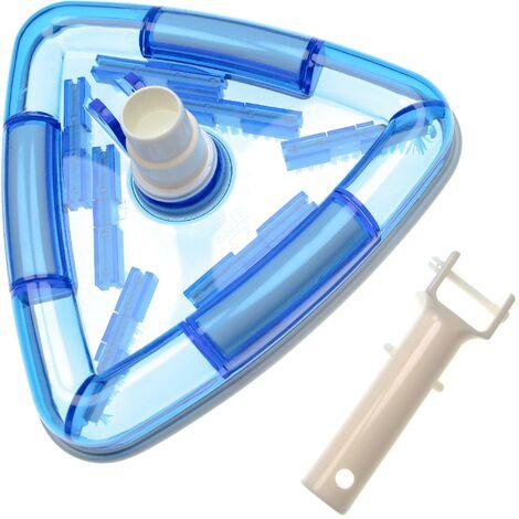 vhbw Aspirador piscina para conectar a la bomba, skimmer -aspiradora con conexión de manguera de 32/38 mm, triangular, blanco / azul (transparente)