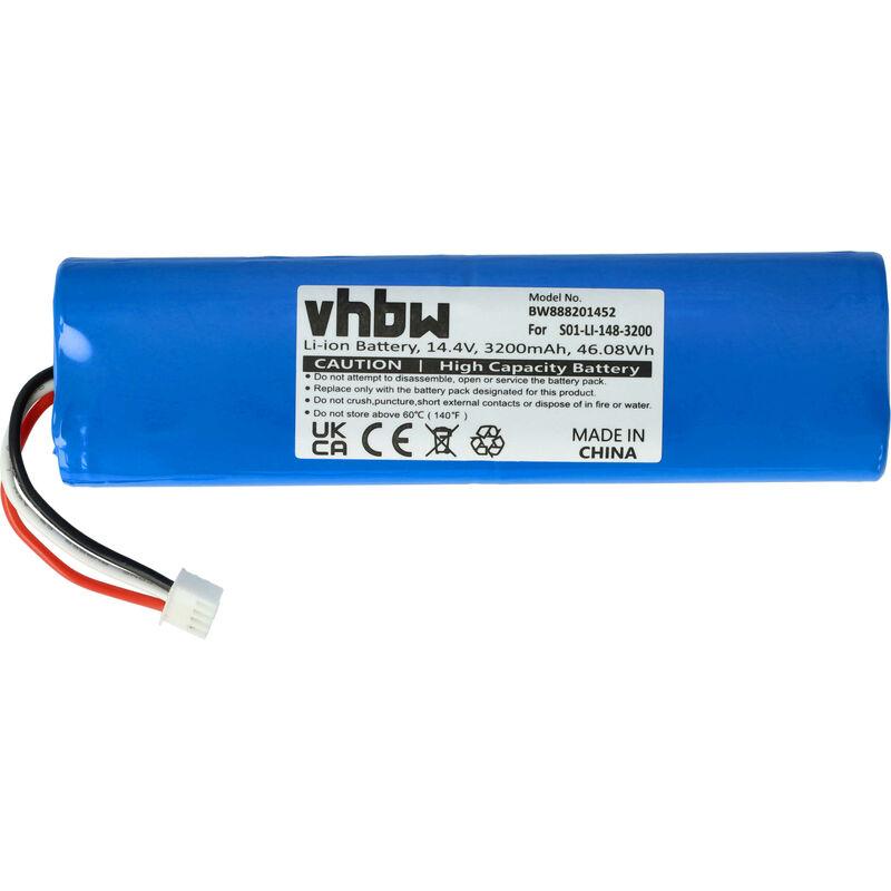 Batería compatible con Ecovacs Deebot Ozmo 900, Ozmo 901, Ozmo 905, Ozmo 937 aspiradora, robot de limpieza (3200mAh, 14,4V, Li-Ion) - Vhbw
