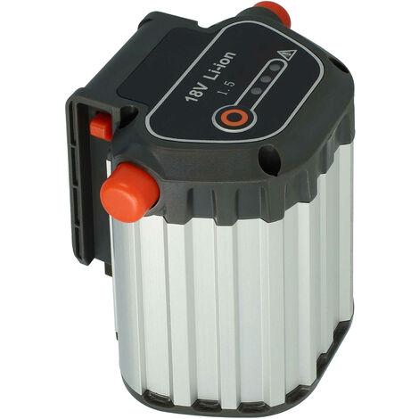 vhbw Batería Li-Ion 1500mAh (18V) para herramientas de jardín eléctricas Gardena THS Li-18/42 cortasetos telescópico a batería como 09840-20, BLi-18.